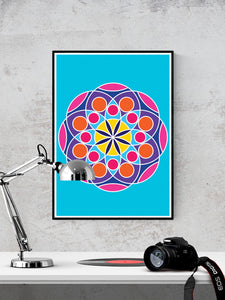 Mandala 2 Pink Mandala Art Print in a frame on a wall