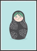 Load image into Gallery viewer, Matryoshka Monstera Russian Doll Art Print in a frame