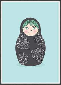 Matryoshka Monstera Russian Doll Art Print in a frame