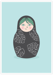 Matryoshka Monstera Russian Doll Art Print not in a frame