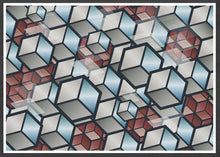 Load image into Gallery viewer, Metal Cubes Geometric Cube Print in a frame