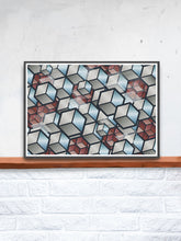 Load image into Gallery viewer, Metal Cubes Geometric Cube Print in a frame on a shelf