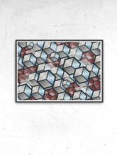 Load image into Gallery viewer, Metal Cubes Geometric Cube Print in a frame on a wall