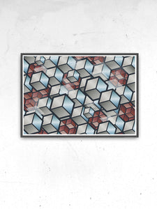 Metal Cubes Geometric Cube Print in a frame on a wall