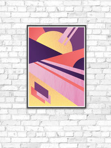 Miami Electric Geometric Retro Art Print on a wall