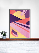 Load image into Gallery viewer, Miami Electric Geometric Retro Art Print on a shelf