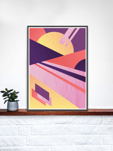Miami Electric Geometric Retro Art Print on a shelf