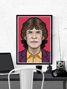 Mick Rock Icon Art Print in a frame on a wall