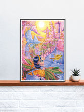 Load image into Gallery viewer, Milly at the Pink Palace Fantasy Art Print in a frame on a shelf