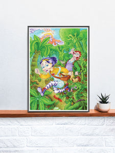 Milly Chase Fantasy Art Print in a frame on a shelf