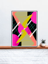 Load image into Gallery viewer, Mirrored Hugs Abstract Wall Art in a frame on a shelf