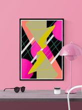 Load image into Gallery viewer, Mirrored Hugs Abstract Wall Art in a frame on a wall