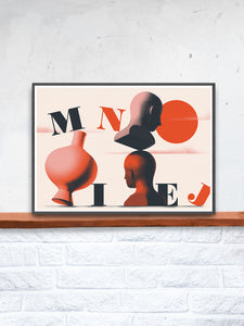 Mniej Art Surreal Art Print on a Shelf