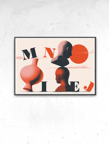 Mniej Art Surreal Art Print in a frame on a wall