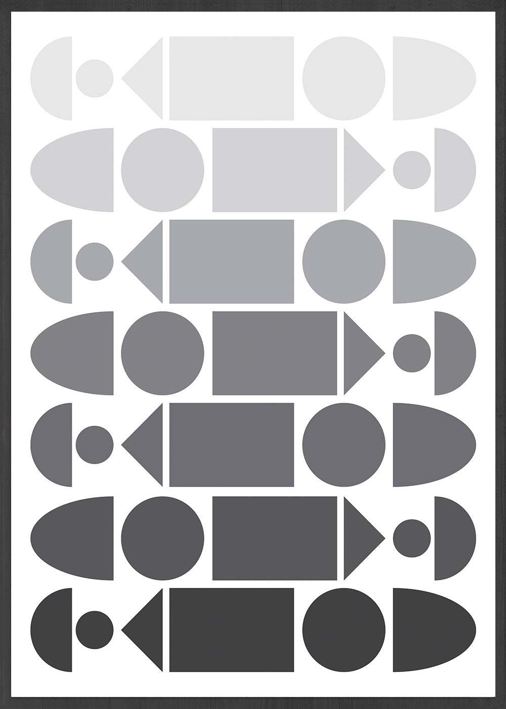 Monochrome Progression Black and White Pattern Design in frame
