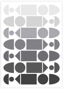Monochrome Progression Black and White Pattern Design no frame