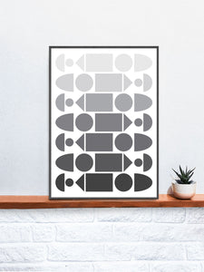 Monochrome Progression Black and White Pattern Design in a frame on a shelf