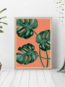 Gorgeous house plant print on a bedroom floor.