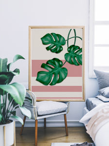 Gorgeous Monstera Deliciosa Art in a lovely bedroom