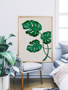 Monstera Print Wall Art in a bedroom