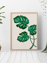 Load image into Gallery viewer, Monstera Print Wall Art in a modern room