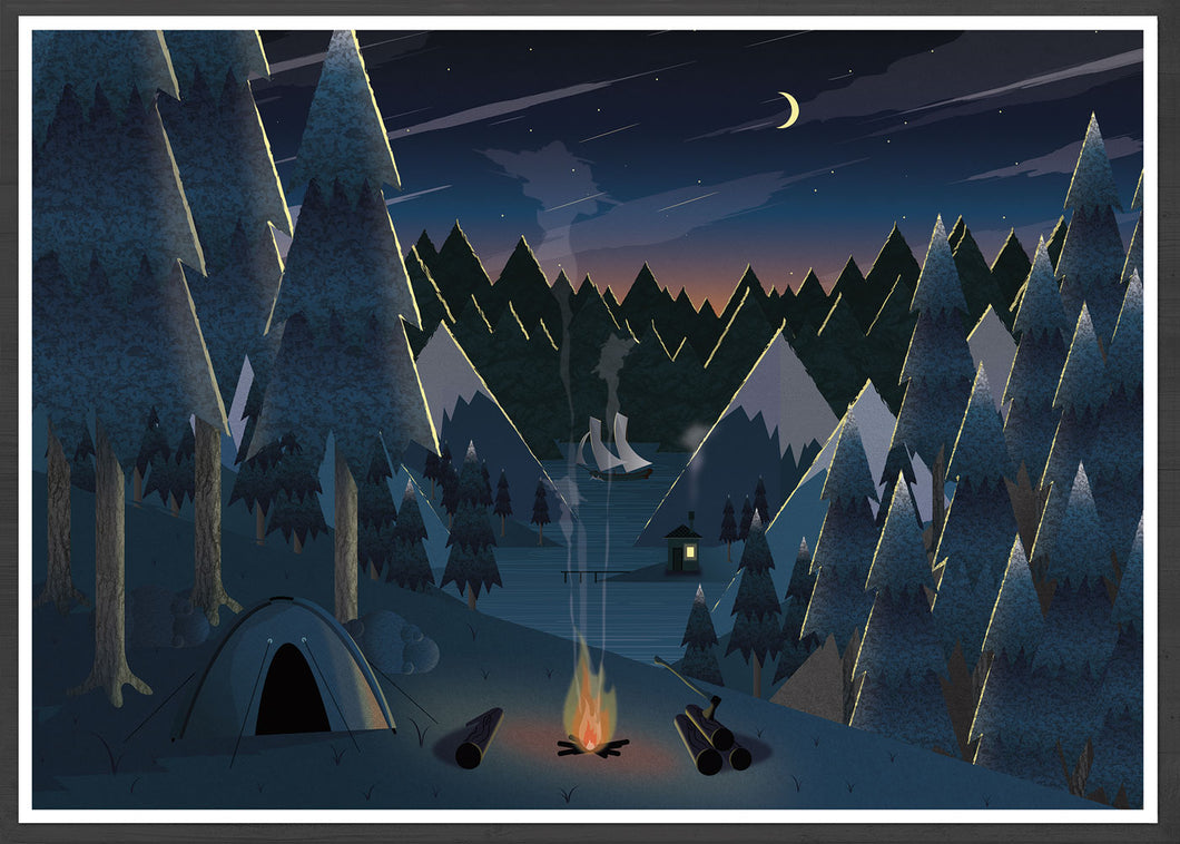 Midnight Camping Art for Kids Print in a frame