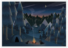 Load image into Gallery viewer, Midnight Camping Art for Kids Print no frame