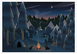 Midnight Camping Art for Kids Print no frame