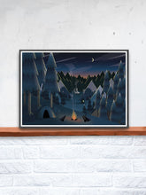 Load image into Gallery viewer, Midnight Camping Art for Kids Print in a frame on a shelf