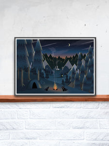 Midnight Camping Art for Kids Print in a frame on a shelf