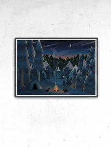 Midnight Camping Art for Kids Print print on a wall
