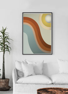 Moon Walk Retro Art Print in traditional lounge