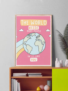 The World Illustration Wall Art in a frame on a shelf