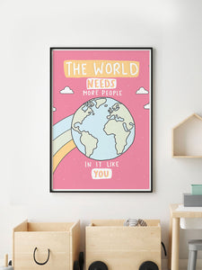 The World Illustration Wall Art in a frame on a wall