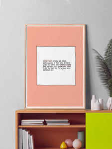 Most of The Time Positive Wall Art in a frame on a shelf
