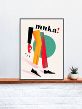 Load image into Gallery viewer, Muka Contemporary Art Print in a frame on a shelf
