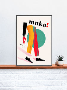 Muka Contemporary Art Print in a frame on a shelf