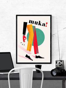Muka Contemporary Art Print in a frame on a wall