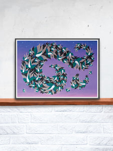 Muramations Bird Artwork Print in a frame on a shelf