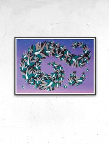 Muramations Bird Artwork Print in a frame on a wall