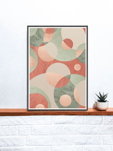 Muted Natural Circle Art Print on a shelf