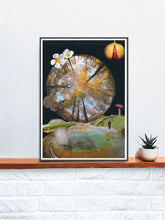 Load image into Gallery viewer, Natures Way Surreal Collage in a frame on a shelf