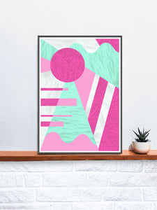 Neon Coral Retro 80s Print on a Shelf