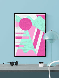 Neon Coral Retro 80s Print in a frame on a wall