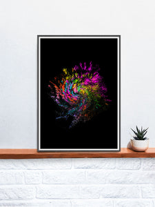 Neon Pixel Art Print on a shelf