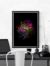 Load image into Gallery viewer, Neon Pixel Art Print on a wall