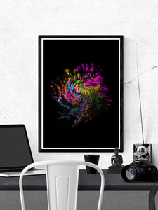Neon Pixel Art Print on a wall