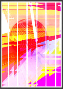 Neu Wave Abstract Sunset Print in frame