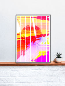 Neu Wave Abstract Sunset Print in a frame on a shelf