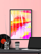 Load image into Gallery viewer, Neu Wave Abstract Sunset Print in a frame on a wall